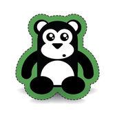 Siyah sevimli ayı sticker — Stok Vektör