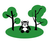 Black Cute Bear Between Trees — Stock Vector