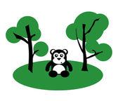 Lindo oso negro entre los árboles — Vector de stock