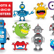 Set of Monsters and Robots — Stock Vector