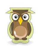 Cute Vector Owl Sticker — Stock Vector