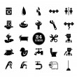 Stock Vector: Black bathroom Icons Set