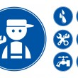 Blue Plumber Icons Set — Vector de stock