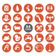 Red bathroom Icons Set — Stock Vector
