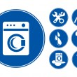 Blue Washing machine Icons Set — Imagen vectorial
