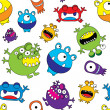 Stock Vector: Cute Monster Seamless Pattern