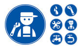 Blue Plumber Icons Set — Stock Vector