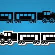 Train and wagon silhouets — Stock Vector