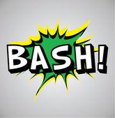 κόμικς έκρηξη φούσκα - bash — Διανυσματικό Αρχείο