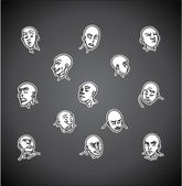 A variety of hand-drawn male faces - negative — Stock vektor