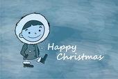 Winter jongen gelukkig kerstfeest — Stockvector