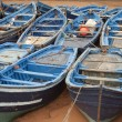 Blue fishing boats in harbor Essaouira Morocco — Stock Photo
