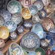 The typical colored pottery on the souk in Marrakech - Stock Photo