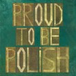 "Earthy background image and design element depicting the words ""Proud to be Polish"" - Foto de Stock"