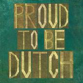 """""""誇りに思ってするオランダの単語を描いた素朴な背景画像やデザイン要素"""" — ストック写真"""