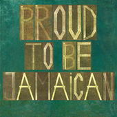"Earthy background image and design element depicting the words ""Proud to be Jamaican"" — Stock Photo"