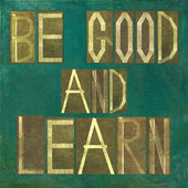 """Elemento di sfondo terroso immagine e disegno raffigurante le parole """"essere buono e imparare"""" — Foto Stock"""