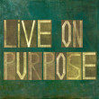 "Stock Photo: Earthy background image and design element depicting words ""Live on purpose"""