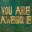 Earthy background image and design element depicting the words You are awesome — Stock Photo