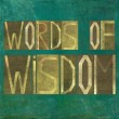 "Earthy background image and design element depicting the words ""Words of wisdom"" - Foto de Stock"