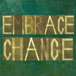 "Earthy background image and design element depicting the words ""embrace change"" — Stockfoto"