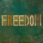 """Earthy background image and design element depicting the words """"Freedom"""" — Stockfoto"""