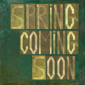 "Earthy background and design element depicting the words ""Spring coming soon"" — Stock Photo"