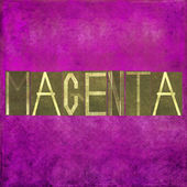 "Earthy background image and useful design element depicting the word and colour ""magenta"" — Stock Photo"