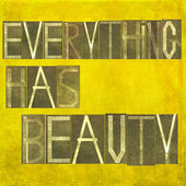 "Earthy background image and design element depicting the words ""everything has beauty"" — Stock Photo"