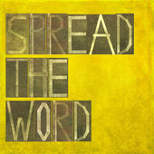 """Earthy background image and design element depicting the words """"spread the word"""" — Stock Photo"""