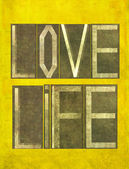 """Earthy background image and design element depicting the words """"Love Life"""" — Stock Photo"""