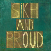 "Earthy background image and design element depicting the words ""Sikh and proud"" — Stock Photo"