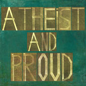 "Earthy background image and design element depicting the words ""Atheist and proud"" — Stock Photo"