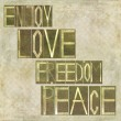 "Stock Photo: Words ""Enjoy Love Freedom Peace"""