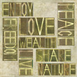 "Words ""Enjoy Freedom Love Peace Wealth Live Share Nature"" — Stock Photo"