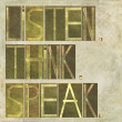 Words Listen, think, speak — Foto Stock