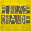 "ストック写真: Words ""Embrace change"""