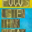 "Words ""Focus listen think speak"" — Stock Photo"