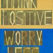 "Stock Photo: Words ""Think positive Worry less"""