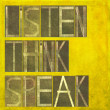 "Words ""Listen Think Speak"" — Stock Photo"