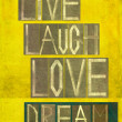 "Stock Photo: Words ""Live Laugh Love Dream"""