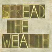 "Words ""Spread the wealth"" — Foto Stock"