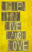 "Words ""Listen Think Live Laugh Love"" — Stock Photo"