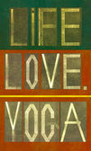 "Words ""Life Love Yoga"" — Stock Photo"