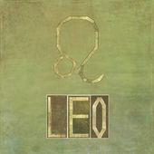 """Palavra e símbolo para o sinal do zodíaco """"leo"""" — Foto Stock"""