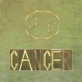 """Palavra e símbolo para o sinal do zodíaco """"câncer"""" — Foto Stock"""