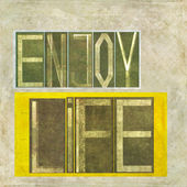 "Earthy background image and design element depicting the words ""Enjoy life"" — Stock Photo"