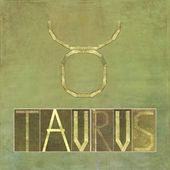 "Word and symbol for the zodiac sign ""Taurus"" — Stock Photo"