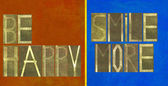 """Words """"Be happy, smile more"""" — Stock Photo"""