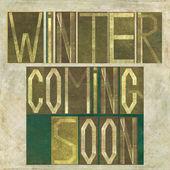 "Words ""Winter coming soon"" — Stockfoto"